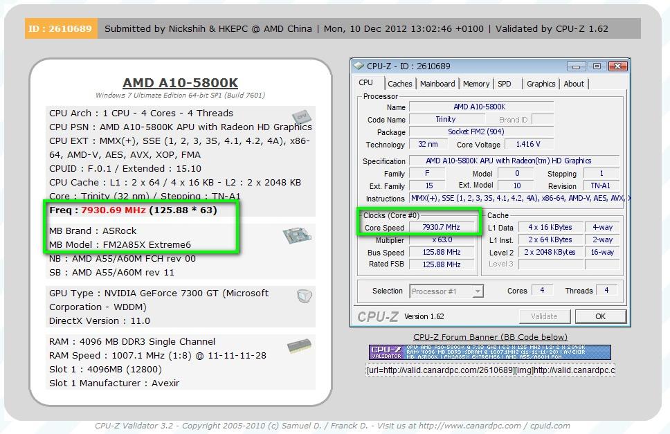 A New World Record! Nick Shih Overclocked AMD A10-5800K APU